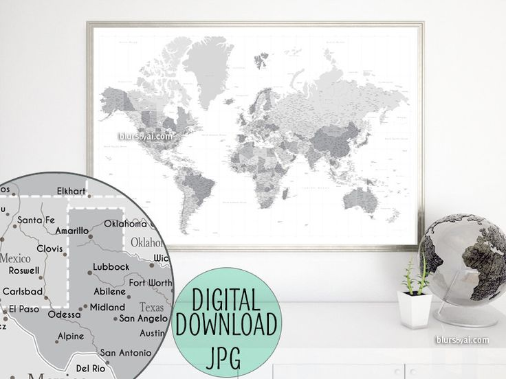Custom quote - highly detailed world map printable with cities, capitals, countries, US States... labeled. Grayscale. #custom #CustomQuote #CustomPrintable #CustomDesignedPrintable #CustomArtPrint #ArtPrint #CustomMap #CustomMapPrint #CustomMapPoster #CustomArtwork