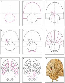 I love this website! Art Projects for Kids: Draw A Turkey – Free PDF Tutorial
