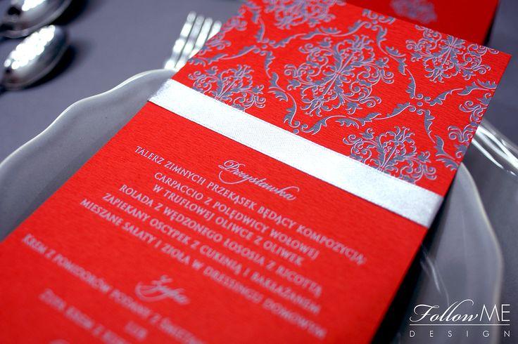 Dekoracje stołu / Karta menu / Winietki / Numery stołów / Eleganckie czerwone dekoracje ślubne od FollowMe DESIGN / Table Decorations / Menu Cards / Wedding Place Card / Table Number / Elegant Red & Grey Wedding Decorations & Details by FollowMe DESIGN