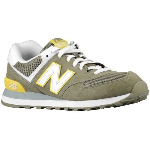 Hot Sales Men's New Balance 574 Core Plus Pack Suede & Mesh Trainers Covert Green/White/Yellow UK Deals 2014