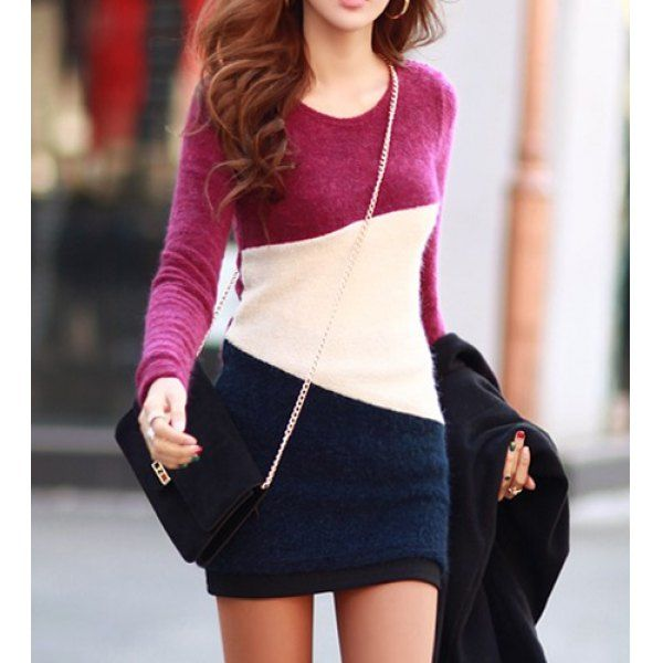 Simple Scoop Neck Long Sleeve Color Blcok Bodycon Women's Dress, PLUM, S in Bodycon Dresses | DressLily.com