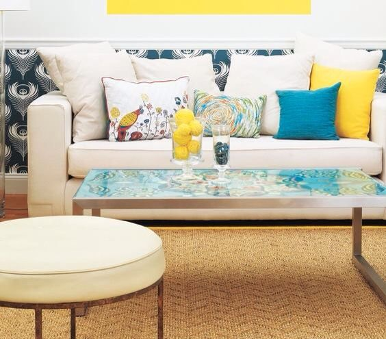 Love this for outside!  Wrap fabric around foam board and attach to the bottom of a glass top table. Thanks Real Simple!!