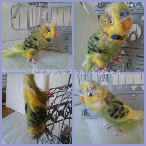 Pet Portrait Budgie Needle Felted by PuppyduckMakes on Etsy