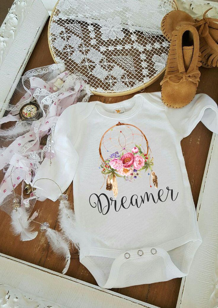 Dreamer Dream Catcher feathers and flowers baby romper one