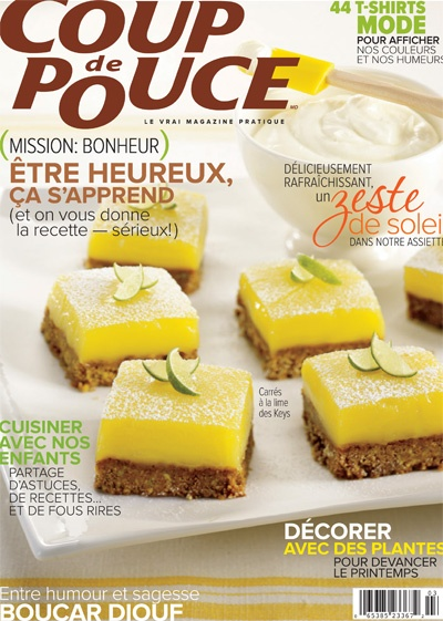 En couverture de notre numéro de mars 2012: Nos carrés à la lime des Keys.