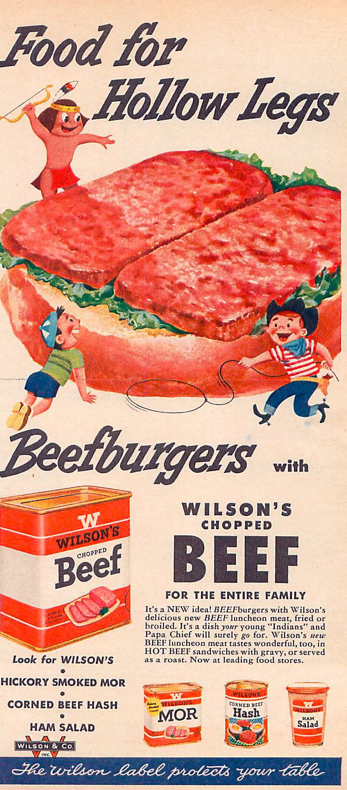 Vintage Magazine Grocery Ads - Chopped Beef from Family Circle August 1954
