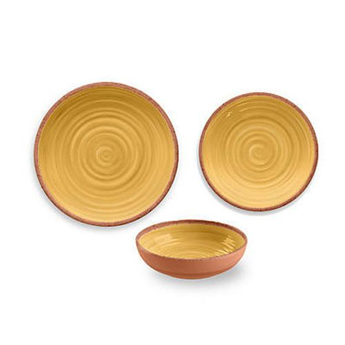 Rustic Swirl 12 Piece Melamine Dinnerware Set in Yellow by TarHong #TarHong