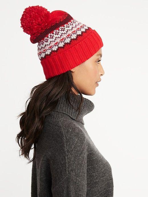 857a3afdc05 Printed Sweater-Knit Pom-Pom Beanie for Women