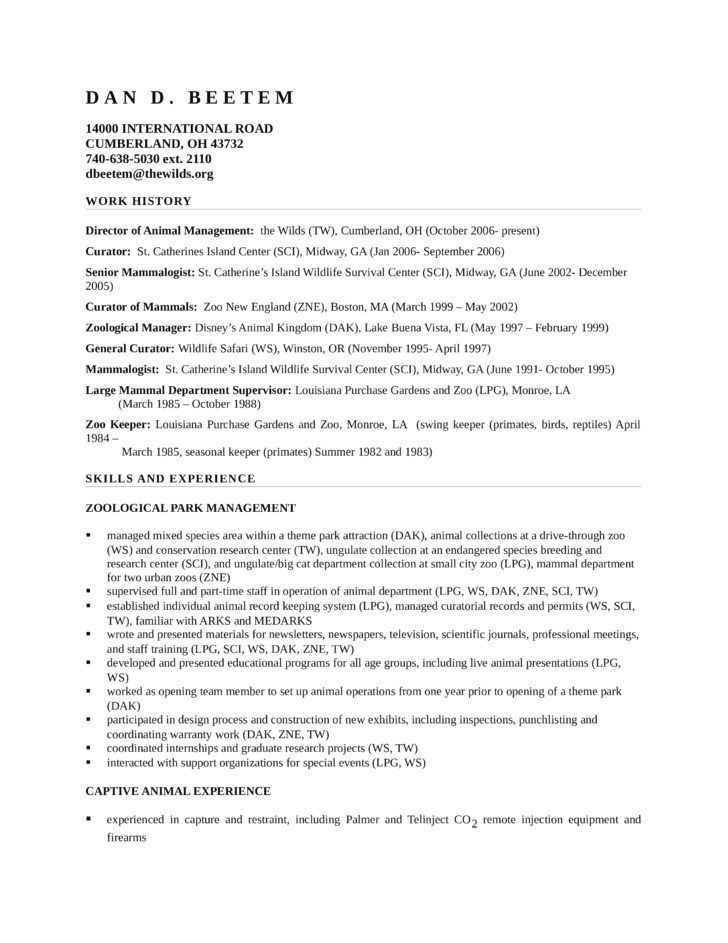 Zoo Keeper Sample Resume One Of The Only Ones I Can Find Online Zookeeper Resume 5 Free Word Pdf Documents Do Resume Examples Resume Format In Word Resume