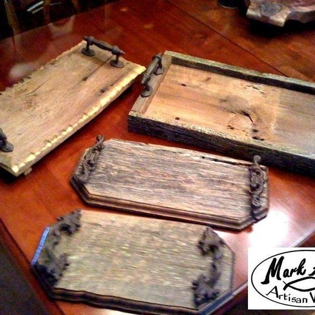 Custom made barnwood trays by mark alan artisan woods for Craft ideas from wood
