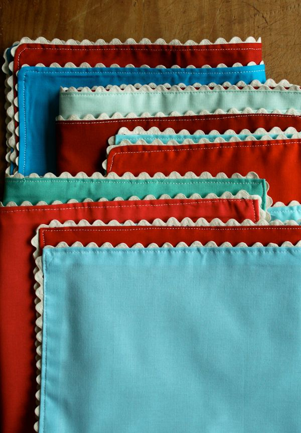 Ric Rac Napkins by Purl Bee: Ric Rac Napkins, Crochet Sewing, Crafts Patterns, Sewing Crafts, Sewing Ideas, Sewing Napkins, Molly Sketchbooks, Clothing Napkins, Purl Bees