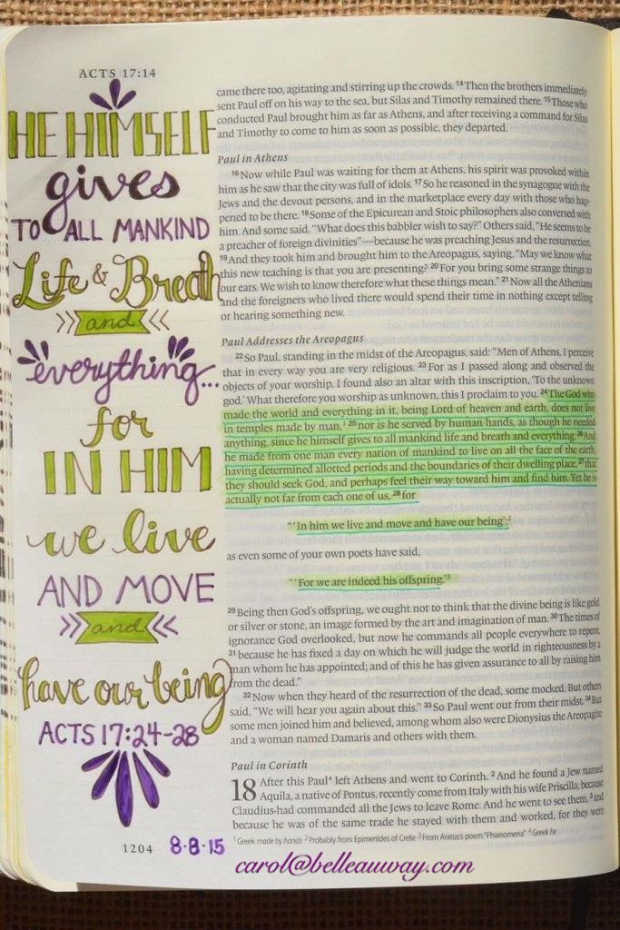 Acts 17:24-28, August 8, 2015 carol@belleauway.com, hand lettering, bible art journaling, journaling bible, illustrated faith