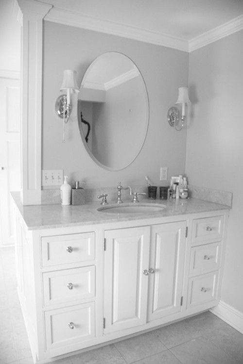 White Bathroom Vanities Lowes Luxury Bathroom Oval Mirror Finished In White Color Equipped With White Marble Material For Vanity Top Design Idea bathroom furniture style, vanity lamp decoration, #bathroom, elegant vanity surface #mirror vanity variation