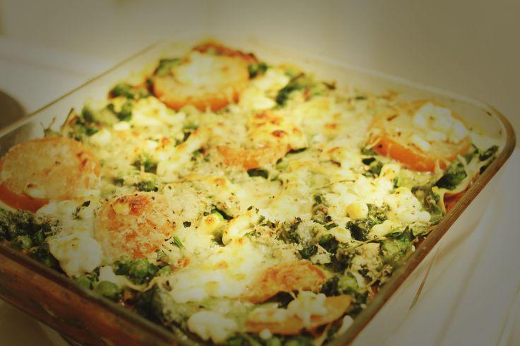 Grønnsakslasagne med cottage cheese