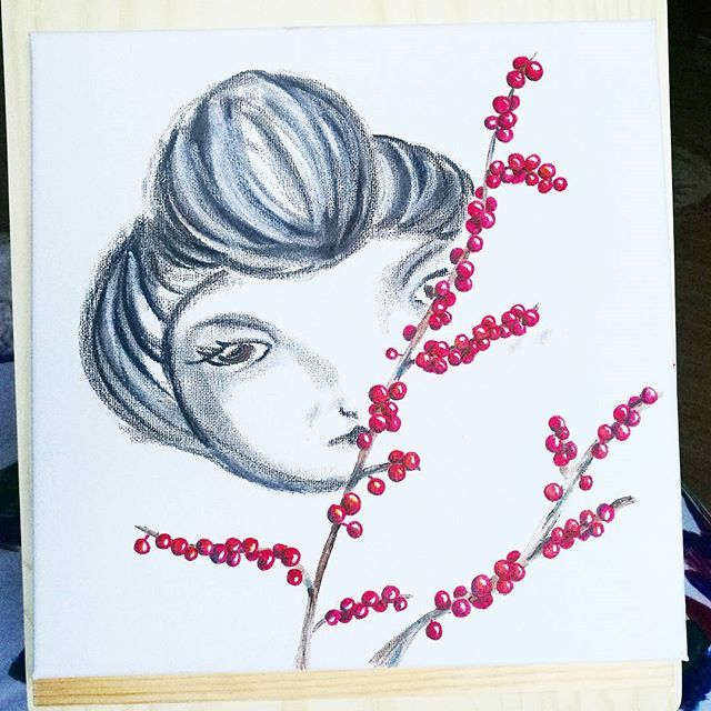 Now in #nemi and it can be yours!  #artinthebox #artecontemporanea #artistoninstagram #kunst #konst #galerie #art #red #christmaspresent #winterberry #winterflowers #igerslazio #castelliromani #roma #canvas #charcoal #acryliconcanvas #flowers #igdaily #målning #artinarte