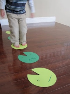 Lily Pad Hop Game! Have kids jump from pad to pad, identifying number, letters, or colors. Easily made with paper plates or green paper. |Skills: gross motor, letters, numbers, colors|