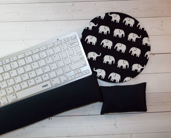elephants Keyboard rest and / or WRIST REST MousePad set chic / cute / preppy / computer, desk accessories / cubical, office, home decor / co-worker, student gift / patterned design / match with coasters, wrist rests / computers and peripherals / feminine touches for the office / desk decor #Computerdeskstocheckout