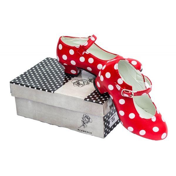 witte stippen | Schoenen  spaanse schoenen rood met witte stippen