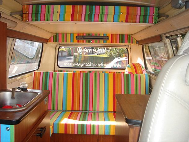 deckchairstripes.com sell amazing, colourful fabrics that can be used to give your campervan a real summery, seaside feel.