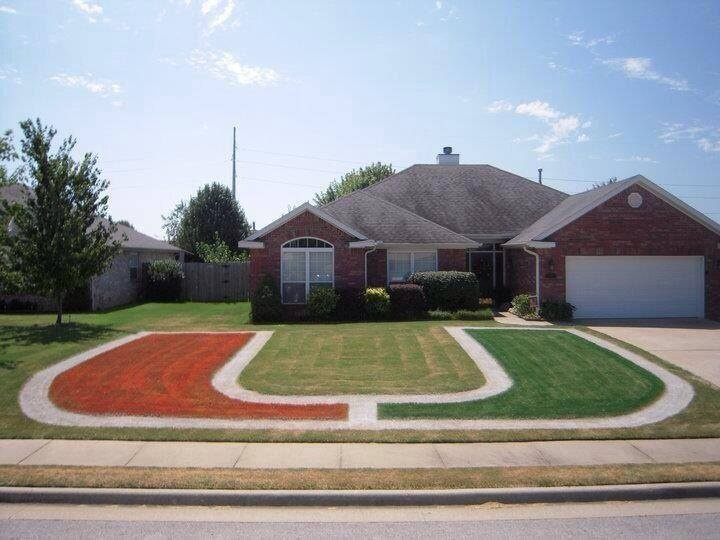 I am not sure what my home owner's association would say about this, but I love this yard!  It's perfect for a Miami Hurricanes fan!