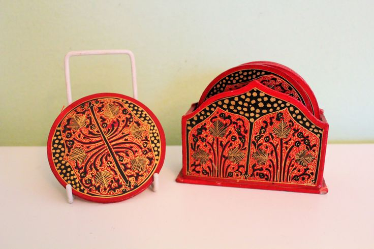 Vintage Wooden Coaster Set, Red Ornaments Coaster, Wood Coaster with Holder, Florentine Style, Morocco/Indian Ornate Coasters by Grandchildattic on Etsy