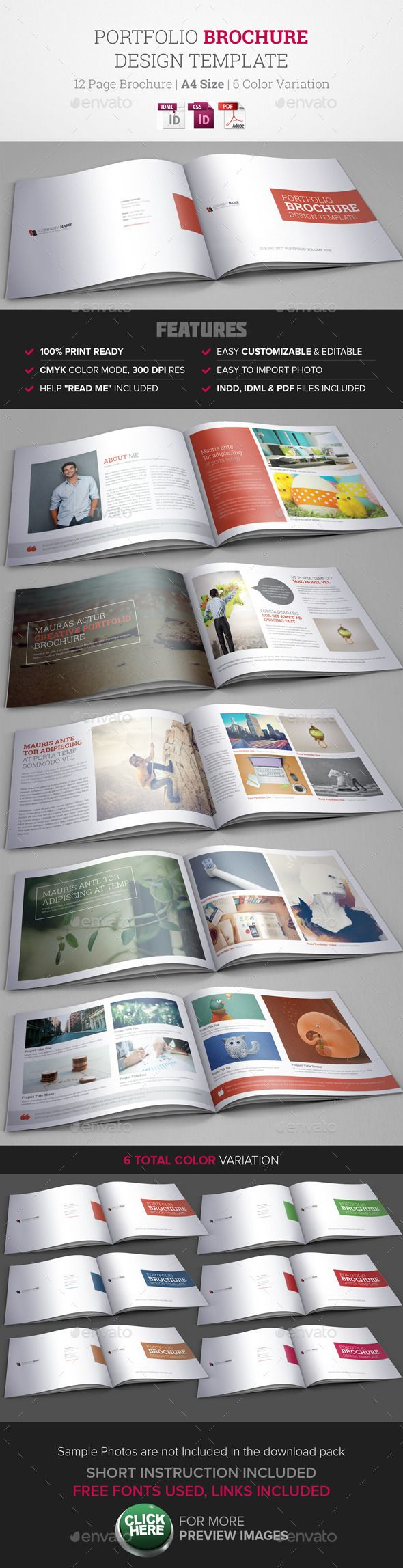 Portfolio Brochure InDesign Template #design #printtemplate Download: http://graphicriver.net/item/portfolio-brochure-indesign-template/9740942?ref=ksioks