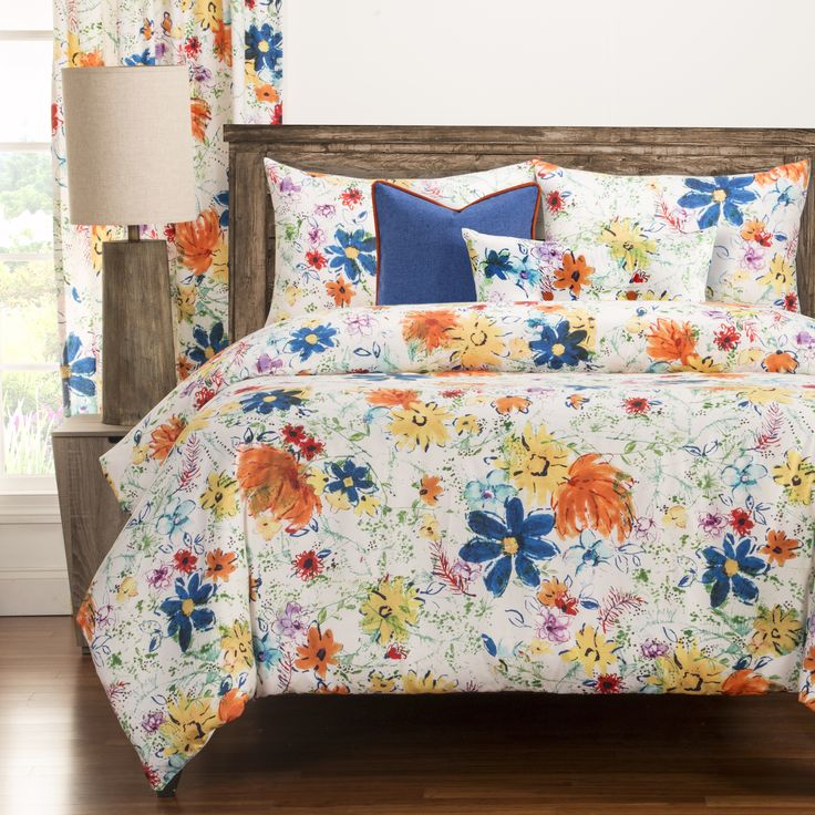 bright and artistic this modern meadow 6piece duvet cover set will bring a