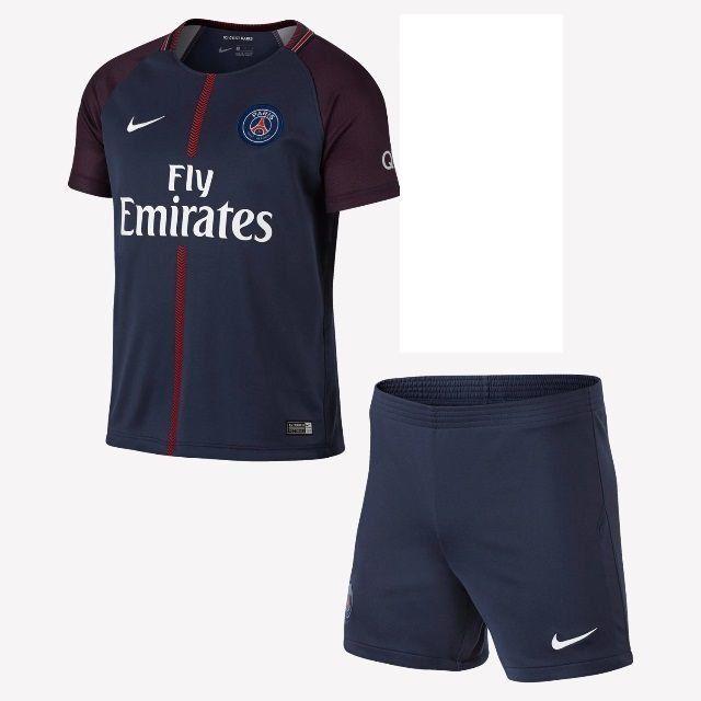 038fc28650 Camisa Paris Saint Germain Kit Infantil Home 17/18 s/nº Torcedor Nike -