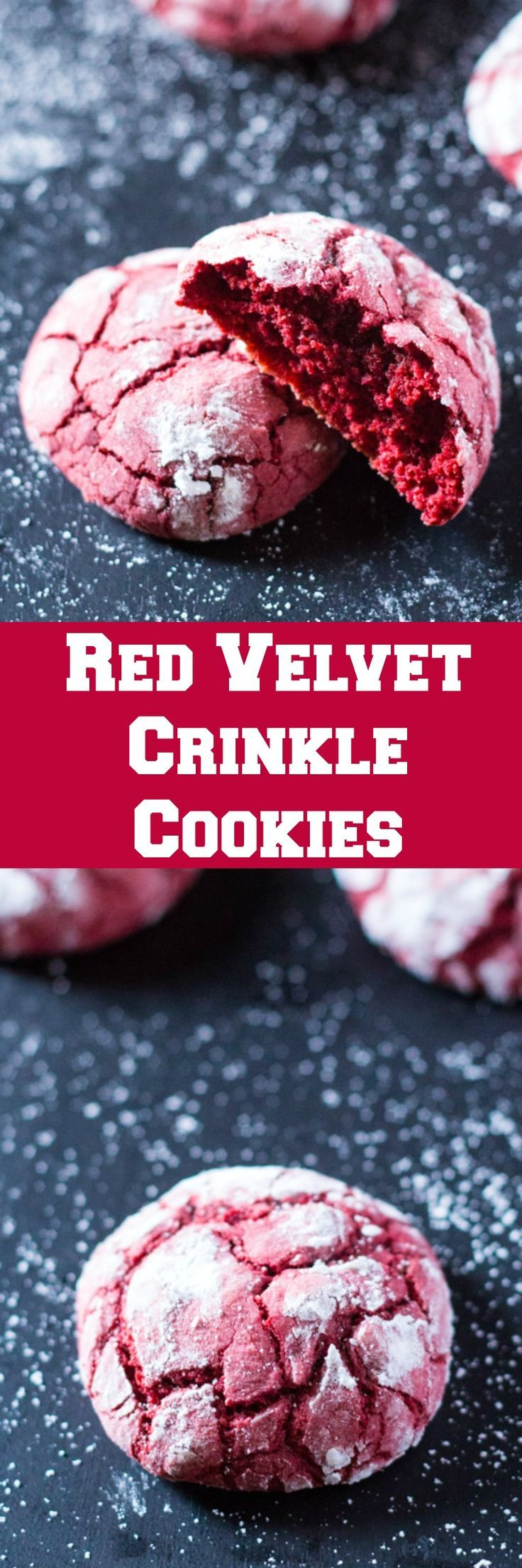 These Red Velvet Crinkle Cookies are perfectly crispy on the outside but chewy on the inside. The perfect cookies for the holidays or even Valentine's Day!