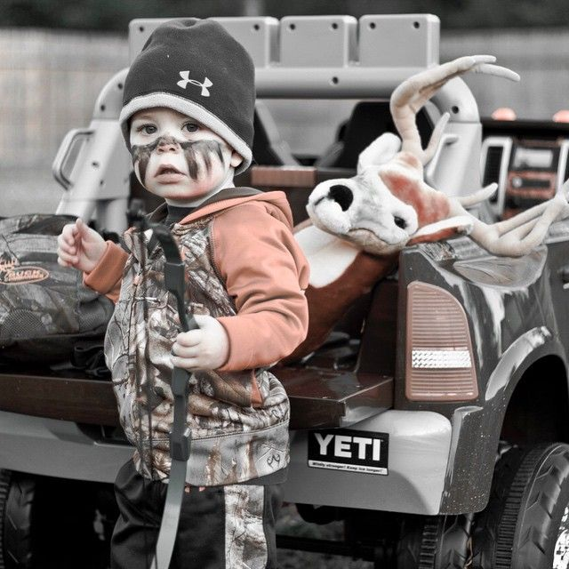 """""""It's never too early to pass on the family tradition! Jaime Lovett of @bcbuckmen sent us the awesome shot of his 2 year old son all painted up and…"""""""