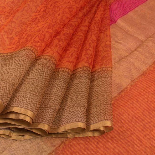 Printed Orange Kota Silk Saree With Floral Motifs & Zari Border 10012723 - AVISHYA.COM