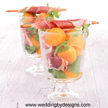 Bridal Shower Appetizers: Proscuitto with melon  www.weddingbydesigns.com