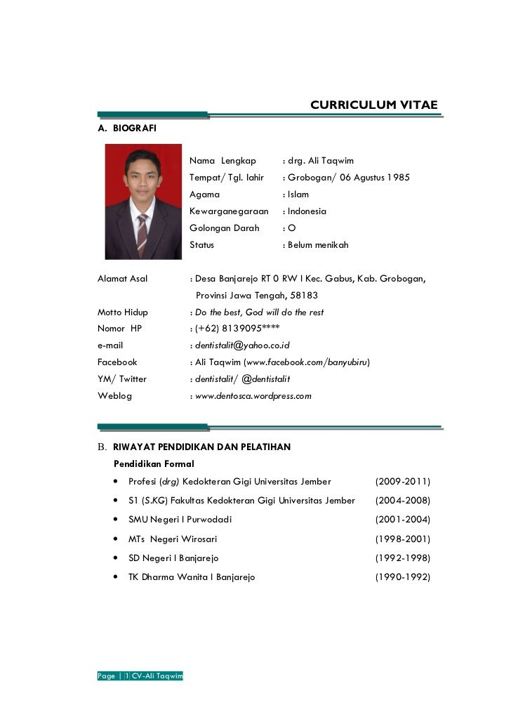 Contoh Curriculum Vitae Kurikulum Riwayat Hidup Biografi