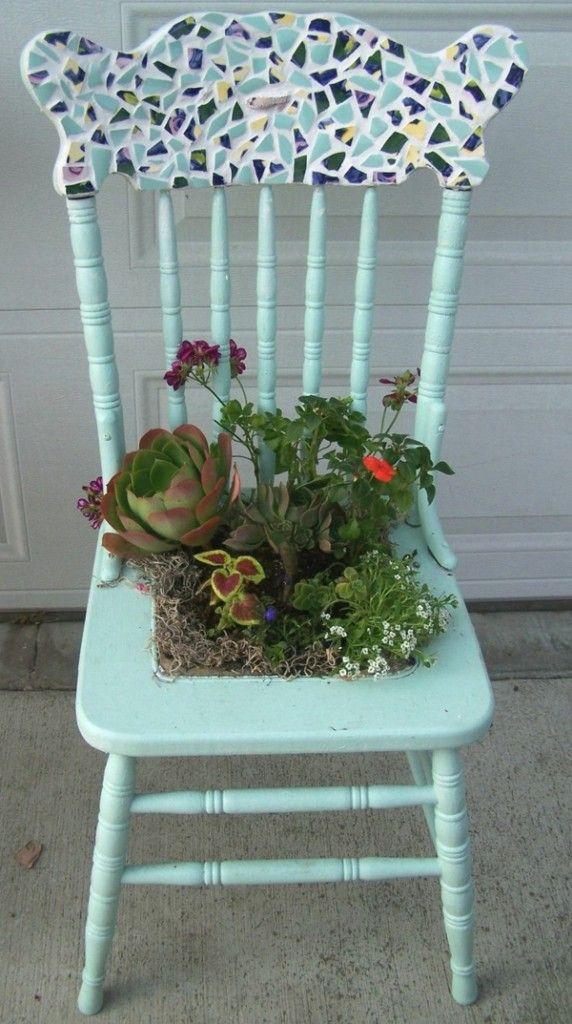 Bsateln mosaic flower pot garden ideas decoration garden chair