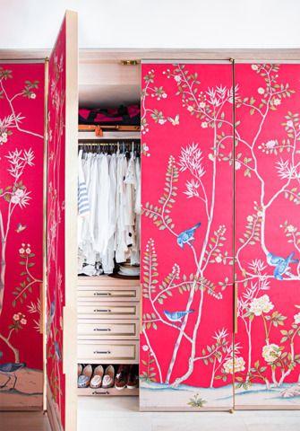 Fun idea to wallpaper some boring closet doors. austyn zung: a modern NYC studio transformation