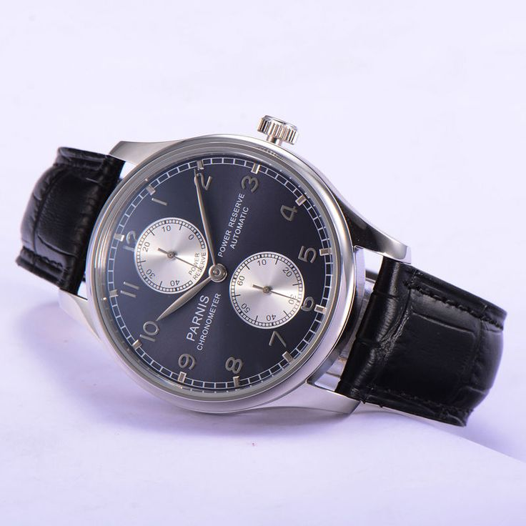 43mm Parnis Automatic Movement Power Reserve Mens Watch Black Dial Leather Strap #parnis #Casual