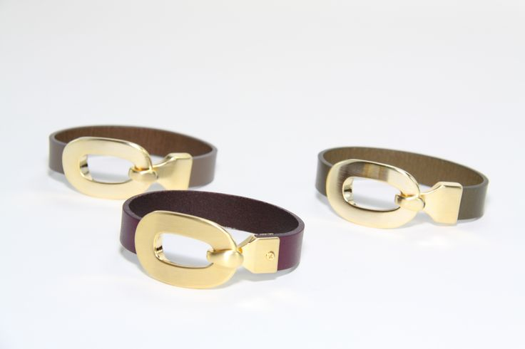 BENATR - Pelle Ebony Leather Bracelets (Available in Eggplant, taupe, khaki) Brushed Gold Stain  Metal Content:  Genuine Italian Leather & Brass
