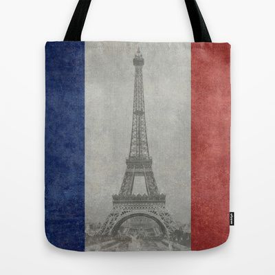Distressed National Flag of France with Eiffel Tower insert Tote Bag by Bruce Stanfield - $22.00