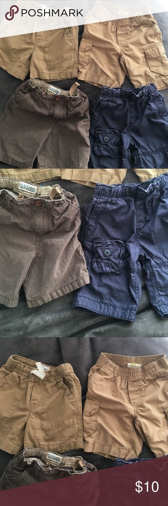 Bundle of boys shorts size 18-24 months 4 pairs of shorts: (brown pinstripe, 24 months, Children's Place), (navy blue cargo, 18-24 months, Baby Gap), (khaki shorts, 18-24 months, Children's Place), (khaki shorts, 18-24 months, Crazy 8). Good used condition. Bundle with other items from my shop and save 20%! Bottoms Shorts