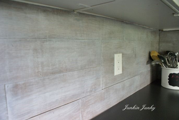 Weathered wood plank backsplash at Junkin Junky