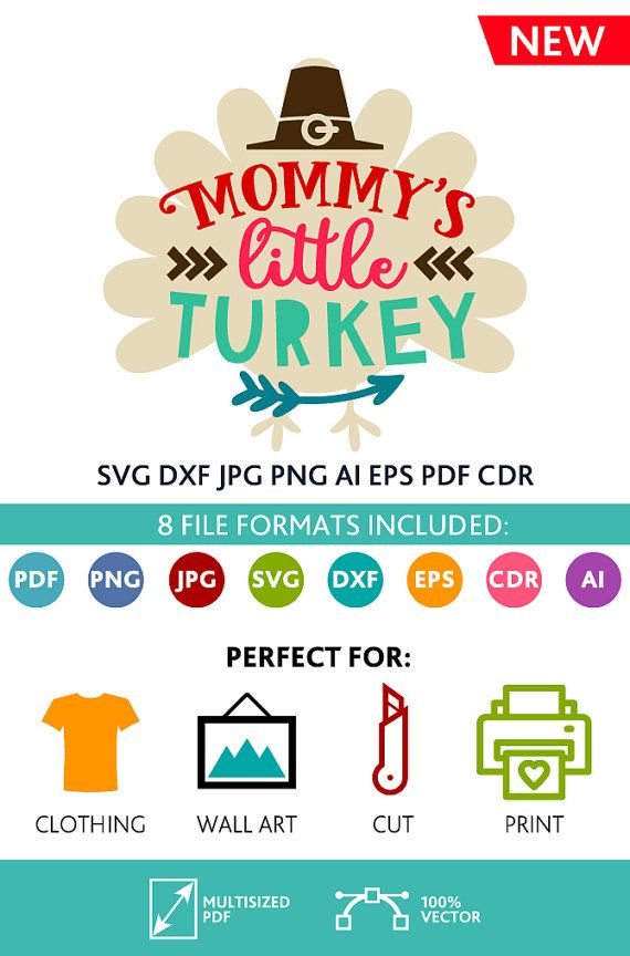 Mommy's Little Turkey SVG Cut Files Wall Art Quote Printable Art Decor room Art Printable Poster digital (Svg Dxf Cdr Eps Ai Jpg Pdf Png)