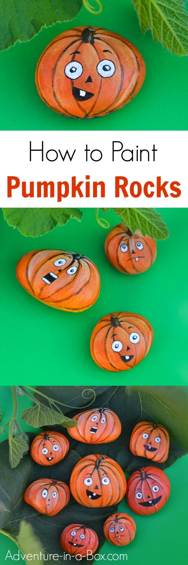 If you like painting rocks, here is a fun autumn craft for you and the kids - turn rocks into jack-o-lantern pumpkins! Also great for Halloween decorations.