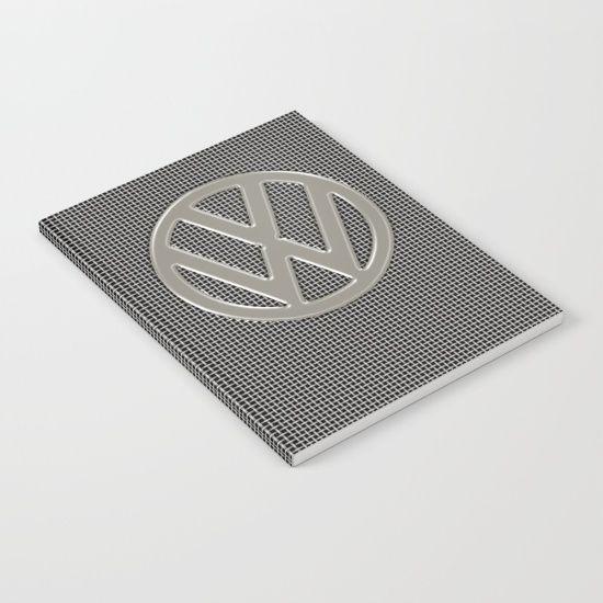 VW Silver Grill Notebook - #Society6 #VW #Volkswagen #CamperVan #VWBus #grill #silver #notebook #notepad