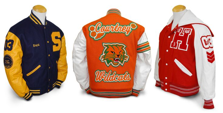 Here are three custom letterman jackets with letterman jacket patches we made for our customers!  We can manufacture nearly anything you can imagine.  We also have dozens of in-stock designs ready to ship!  Image © Mount Olympus Awards, LLC.  All Rights Reserved.