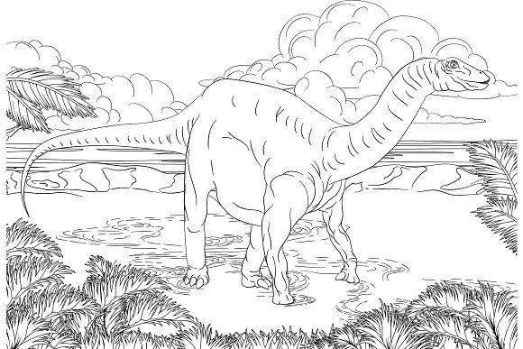 Dinosaur Scene Cartoon Coloring Book Coloring Books Coloring Book Pages Cartoon
