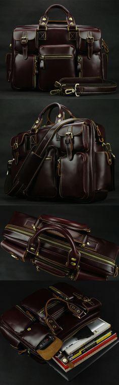 Top Grade Cowhide Leather Men's Briefcase Laptop Bag Dispatch Shoulder Huge Duffle in Red Wine