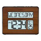 La Crosse Technology Atomic Full Calendar Digital Clock with Extra Large Digits - Walnut