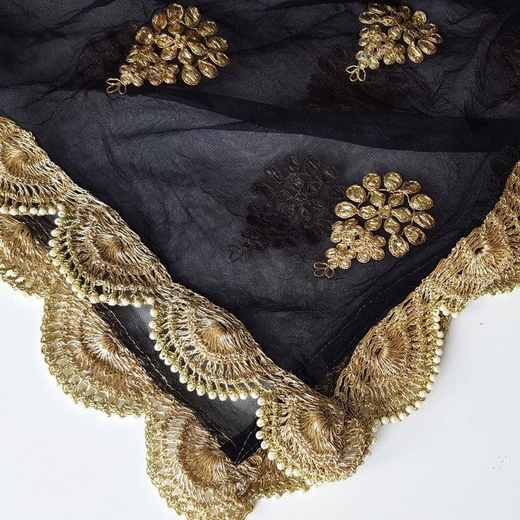 Simple and classy - shop our new black designer net dupatta!