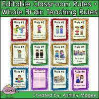 Editable Classroom Rules & Whole Brain Teaching Rules Posters - FREE from First Grade Brain