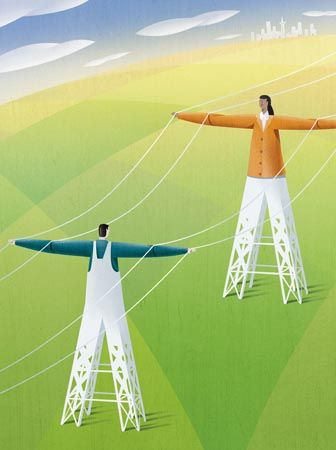 Editorial illustration of green energy, for energy company